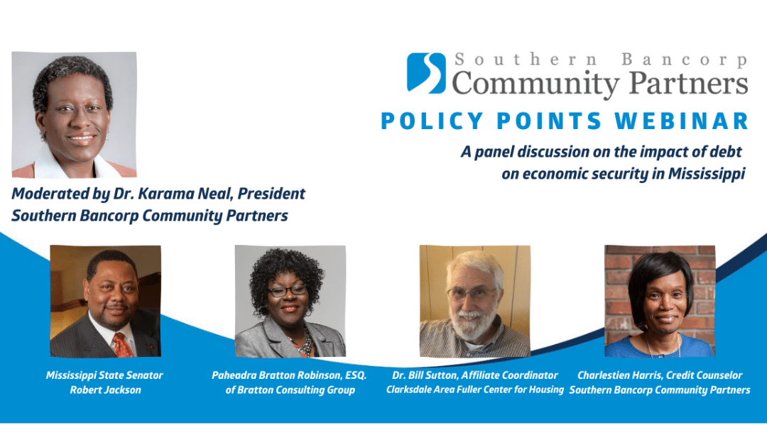 Southern Bancorp Community Partners announces policy brief and webinar addressing debt in Mississippi